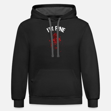 Attack I'm Fine Bloody Halloween Outfit - Unisex Two-Tone Hoodie