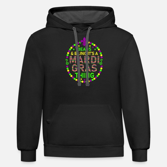 Mardi Gras Hoodies & Sweatshirts - Beads And Bling Its A Mardi Gras - Unisex Two-Tone Hoodie black/asphalt
