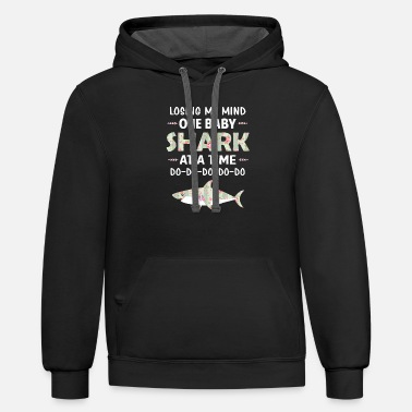 Losing My Mind One Baby Shark At A Time Floral - Unisex Two-Tone Hoodie
