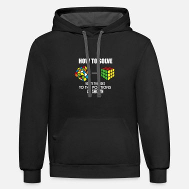 Cubing How To Solve Puzzle Cube - Funny Cubing - Unisex Two-Tone Hoodie
