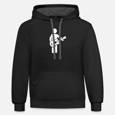 Stick Figure Bassist stick figure - Unisex Two-Tone Hoodie