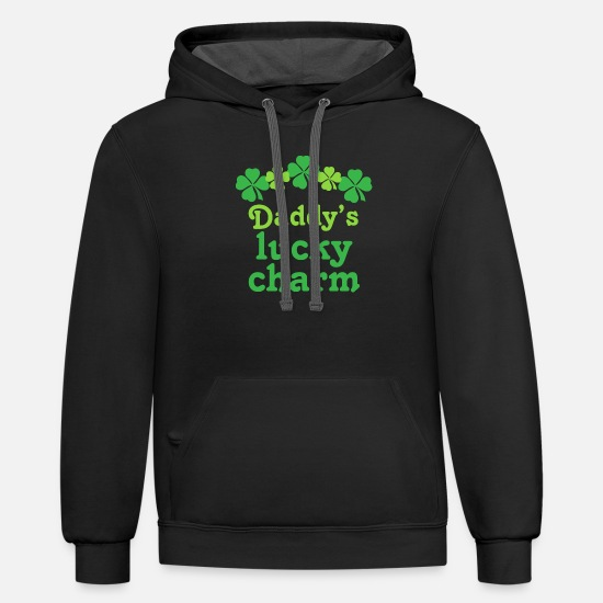 Charm Hoodies & Sweatshirts - Daddy's Lucky Charm Irish - Unisex Two-Tone Hoodie black/asphalt