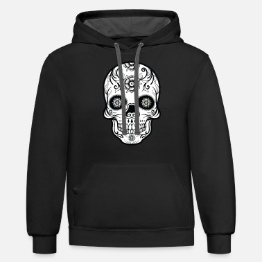 Skull Black and White Sugar Skull - Unisex Two-Tone Hoodie