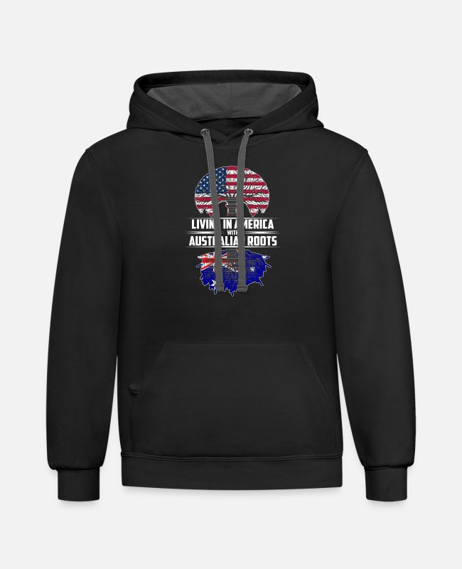 Royal Hoodies & Sweatshirts - Living in america with Australian roots - Unisex Two-Tone Hoodie black/asphalt