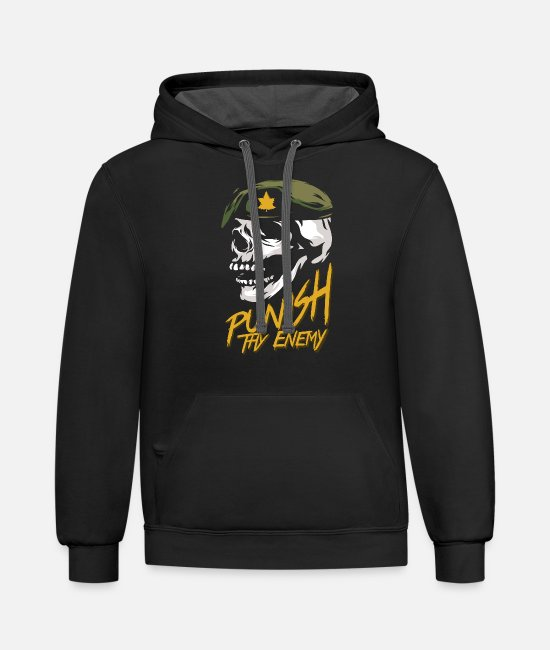 Canadian Soldier Hoodies & Sweatshirts - Punish Thy Enemy Canadian Military - Unisex Two-Tone Hoodie black/asphalt