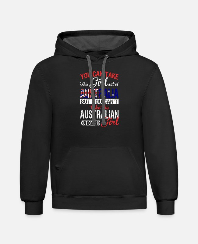 Royal Hoodies & Sweatshirts - Australian - You Can Take This Girl Out Of Austr - Unisex Two-Tone Hoodie black/asphalt