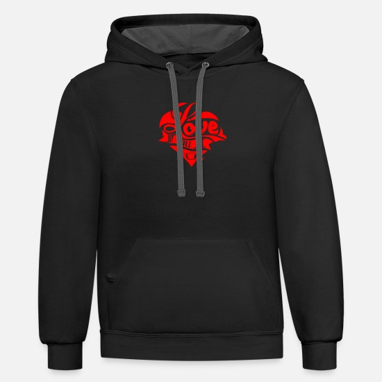 Healing Hoodies & Sweatshirts - Love Will Heal - Unisex Two-Tone Hoodie black/asphalt