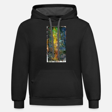movement of red uneven square | abstract painting - Unisex Two-Tone Hoodie