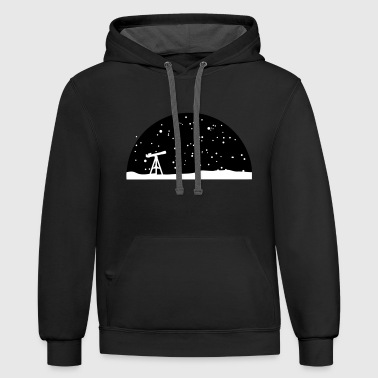 Astronomy, Telescope and starry night sky - Contrast Hoodie