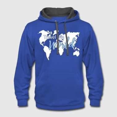 World Map Travel the World Map Worldmap - Contrast Hoodie