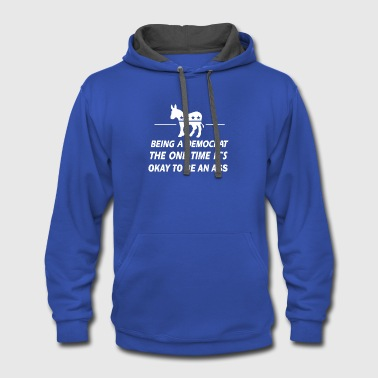 Democratic Party Funny Democrat - Contrast Hoodie