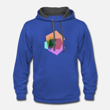 Abstract Polygon flower - Contrast Hoodie