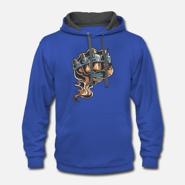 Brass Demon_hand_with_brass_knuckles - Contrast Hoodie