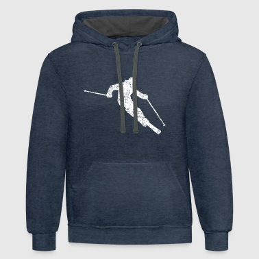 Skier Skiing 04 (Distressed White) - Contrast Hoodie