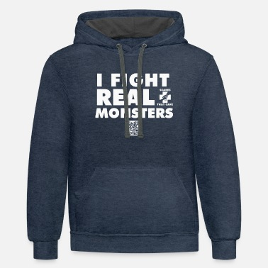 I FIGHT REAL MONSTERS - Contrast Hoodie