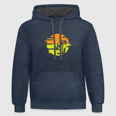 Palm Trees | summer sun surfing gift giftidea - Contrast Hoodie