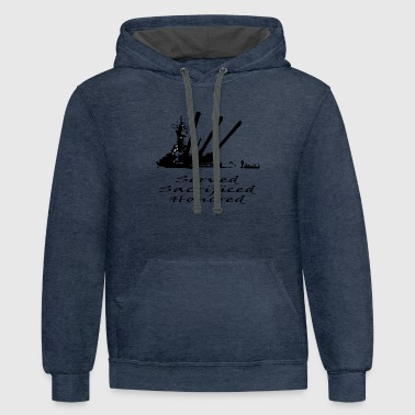 Navy Served Sacrificed Honored - Contrast Hoodie