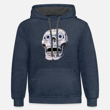 Eyeball skull with eyeballs - Contrast Hoodie