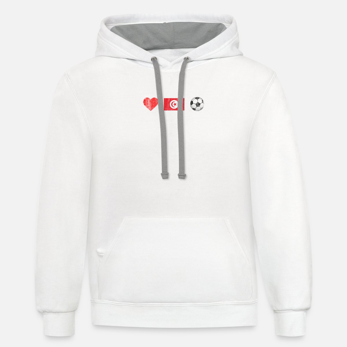 detailed look 4a3a3 d6817 Tunisia Football Shirt - Tunisia Soccer Jersey Contrast Hoodie - white/gray