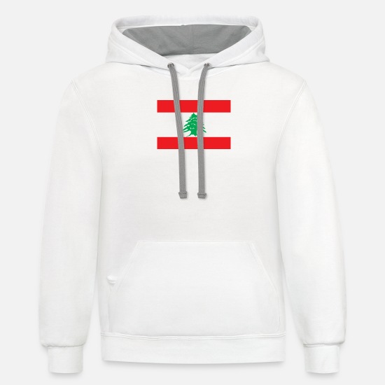 Beirut Hoodies & Sweatshirts - National Flag Of Lebanon - Unisex Two-Tone Hoodie white/gray