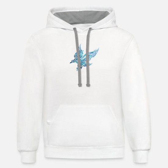 Bird Hoodies & Sweatshirts - Abstract eagle bird vector wildlife illustration - Unisex Two-Tone Hoodie white/gray