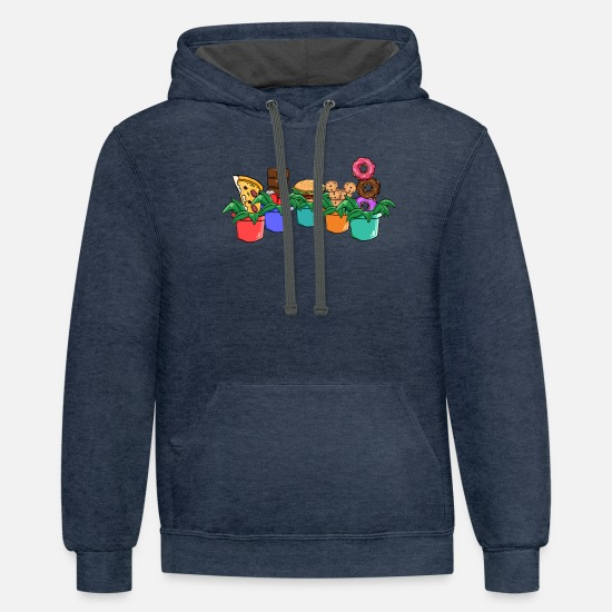 Pepper Hoodies & Sweatshirts - Flower Plants Funny T-Shirt Cactus Flower Pot Gift - Unisex Two-Tone Hoodie indigo heather/asphalt