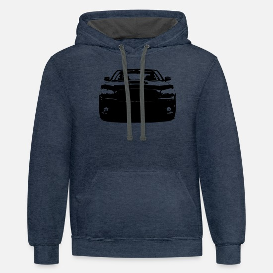 Charger Hoodies & Sweatshirts - Dodge Charger - Unisex Two-Tone Hoodie indigo heather/asphalt