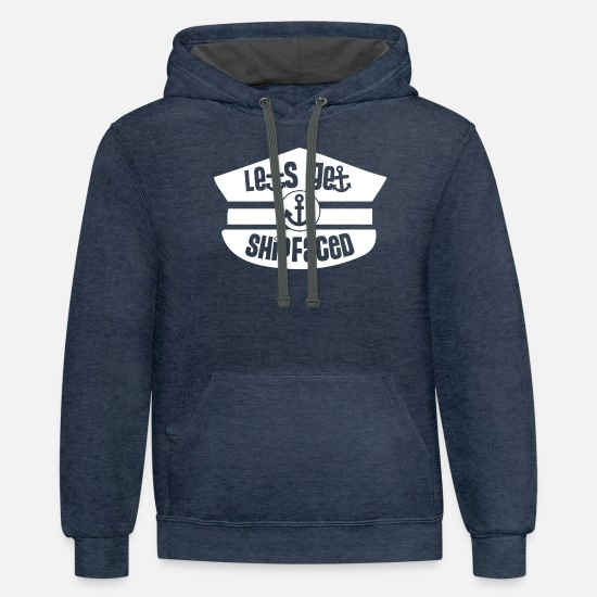 Carnival Hoodies & Sweatshirts - Let's Get Shipfaced - Funny Cruise Shirt - Unisex Two-Tone Hoodie indigo heather/asphalt