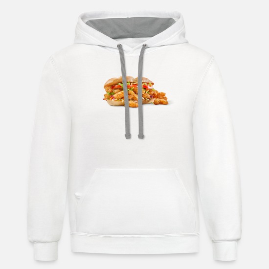 Shrimp Hoodies & Sweatshirts - Fried Shrimp Poboy overflowing realistic sandwich - Unisex Two-Tone Hoodie white/gray