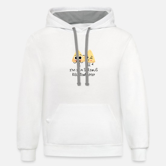 Love Hoodies & Sweatshirts - Seiour RelationCHip Hilarious Valentines Sayings - Unisex Two-Tone Hoodie white/gray