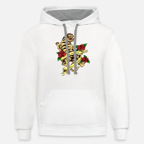 436e0fc09 Tattoo Hoodies & Sweatshirts - Tiger Tattoo Vintage Style - Unisex Two-Tone  Hoodie white