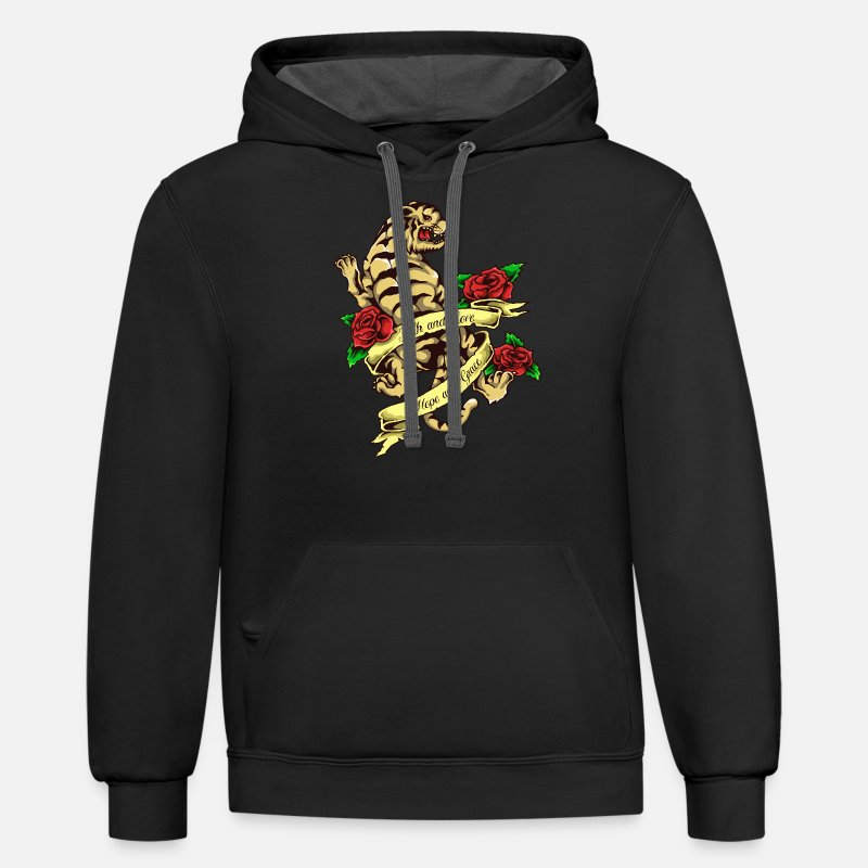 2f165419c Tiger Tattoo Vintage Style Unisex Two-Tone Hoodie | Spreadshirt