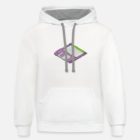 "Computer Hoodies & Sweatshirts - 3 1/2"" Floppy Disk - Unisex Two-Tone Hoodie white/gray"