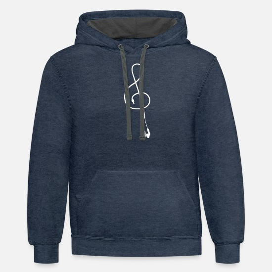 Earphones Hoodies & Sweatshirts - Earphones White - Unisex Two-Tone Hoodie indigo heather/asphalt