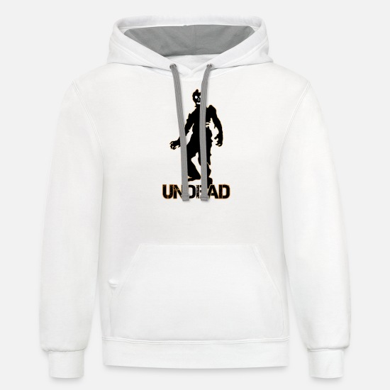 Gift Idea Hoodies & Sweatshirts - undead monster,zombie - Unisex Two-Tone Hoodie white/gray