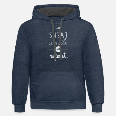 Geek &amp Sweat Smile amp Repeat - Unisex Two-Tone Hoodie