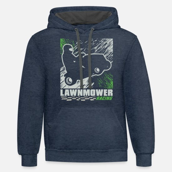 Race Hoodies & Sweatshirts - Lawnmower Racing Abstract - Unisex Two-Tone Hoodie indigo heather/asphalt