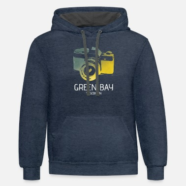 Green Bay camera with heart - Unisex Two-Tone Hoodie