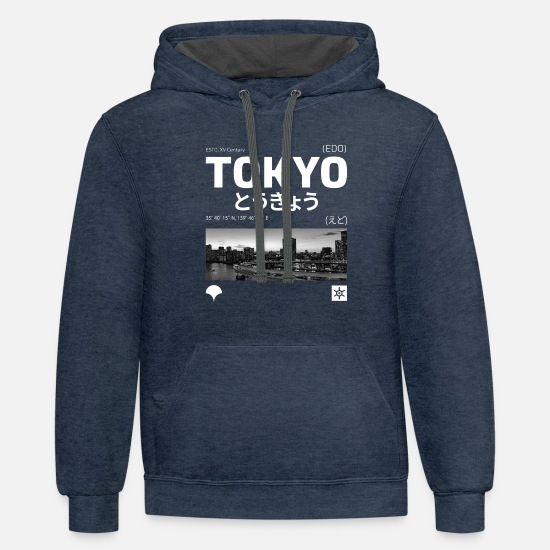 Japanese Hoodies & Sweatshirts - Tokyo Design - Unisex Two-Tone Hoodie indigo heather/asphalt