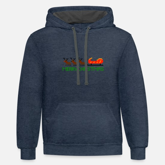 Reindeer Hoodies & Sweatshirts - Reindeers with sledges - Unisex Two-Tone Hoodie indigo heather/asphalt