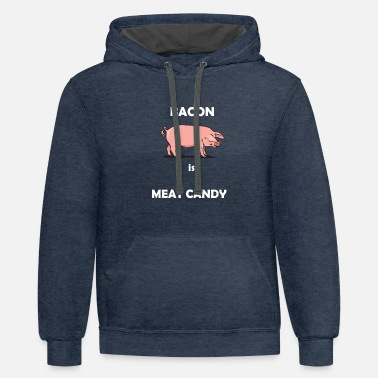 Pork,Pig,Bacon,Meat,Candy,No Vegan,Animal,Gift - Unisex Two-Tone Hoodie