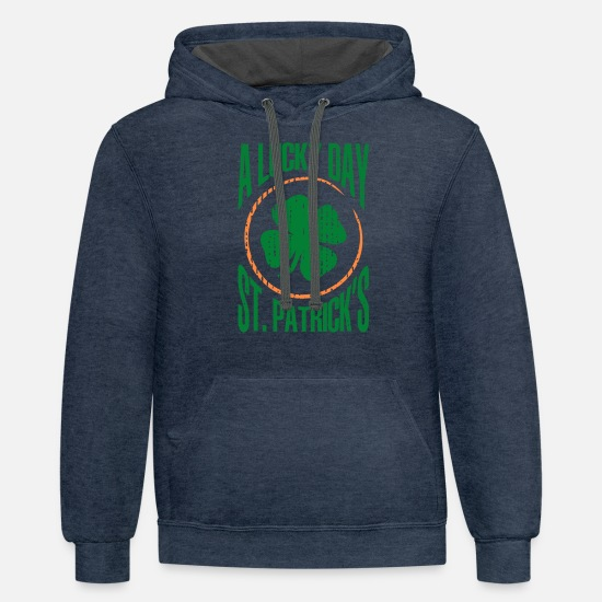 Lucky Hoodies & Sweatshirts - A LUCKY DAY ST PATRICK'S - Unisex Two-Tone Hoodie indigo heather/asphalt