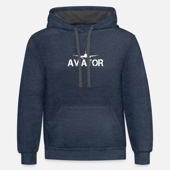 Aviation Hoodies & Sweatshirts - Aviator - Unisex Two-Tone Hoodie indigo heather/asphalt