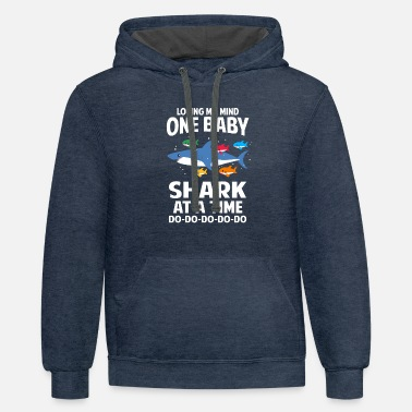 Losing My Mind One Baby Shark At A Time Family - Unisex Two-Tone Hoodie