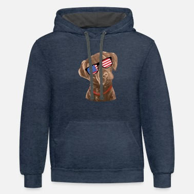 American Indian Funny Chocolate Labrador American Flag 4th shirt - Unisex Two-Tone Hoodie
