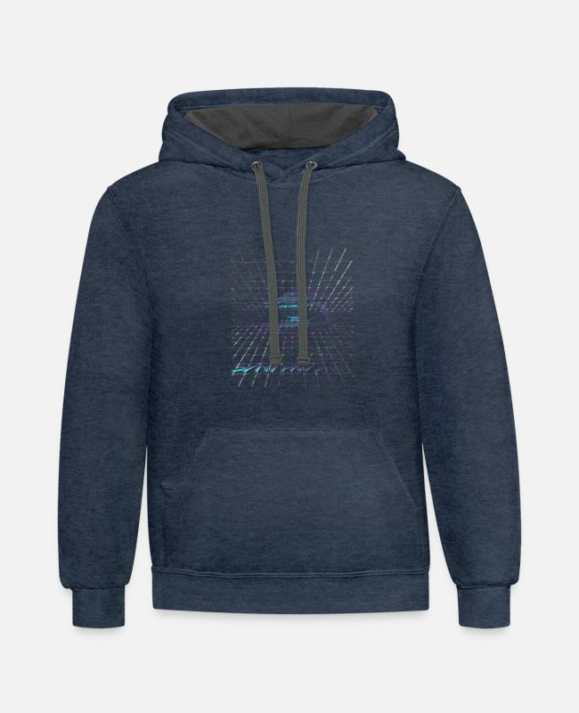 Cyberpunk Hoodies & Sweatshirts - Synthwave - NEON - Unisex Two-Tone Hoodie indigo heather/asphalt