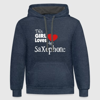 This Girl Loves Her Saxophone - Contrast Hoodie