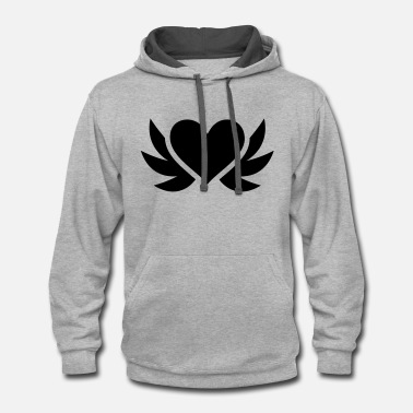 Wings Heart with wings - Contrast Hoodie