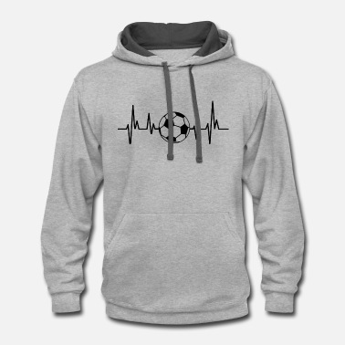 Fan Heartbeat Soccer | Soccer Ball Fan Gift Football - Contrast Hoodie
