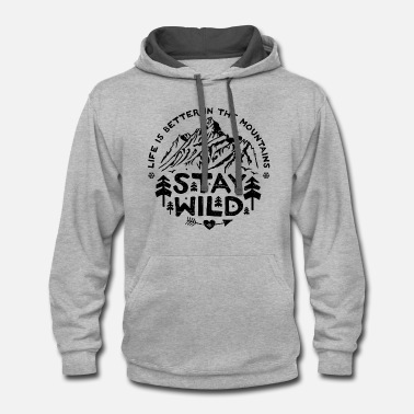 Mountains Stay Wild - black/distr. - Unisex Two-Tone Hoodie